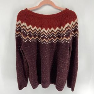 Fjallraven Maroon Red Wool Round Neck Knit Sweater